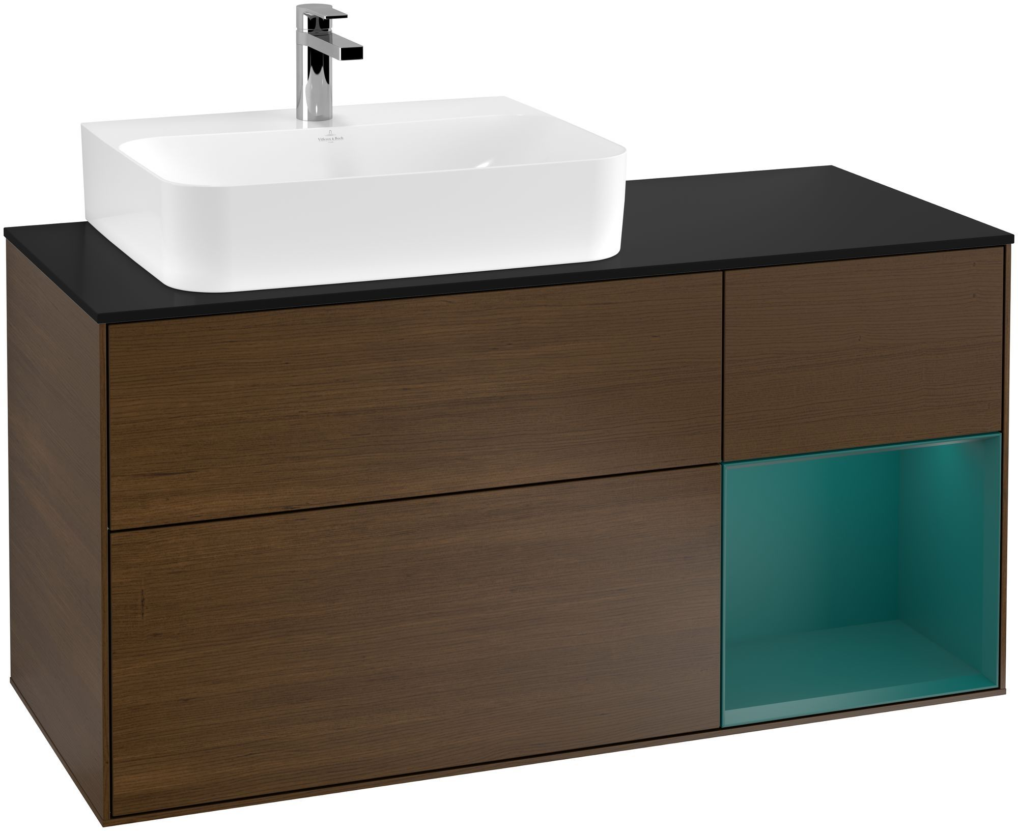 Villeroy & Boch Finion G15 Waschtischunterschrank mit Regalelement 3 Auszüge Waschtisch links LED-Beleuchtung B:120xH:60,3xT:50,1cm Front, Korpus: Walnut Veneer, Regal: Cedar, Glasplatte: Black Matt G152GSGN