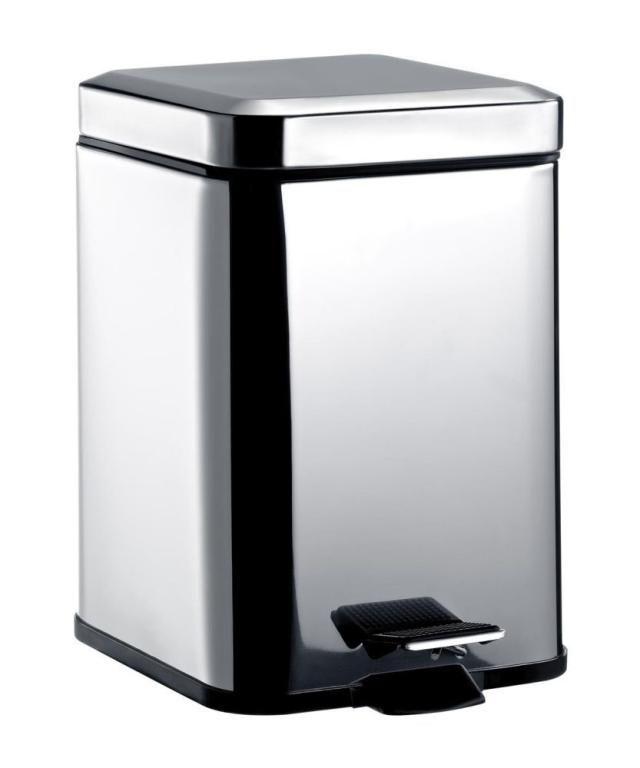 Emco System 2 Abfallbehälter 355300005, eckig, 5 l., mit Deckel, edelstahl-optik
