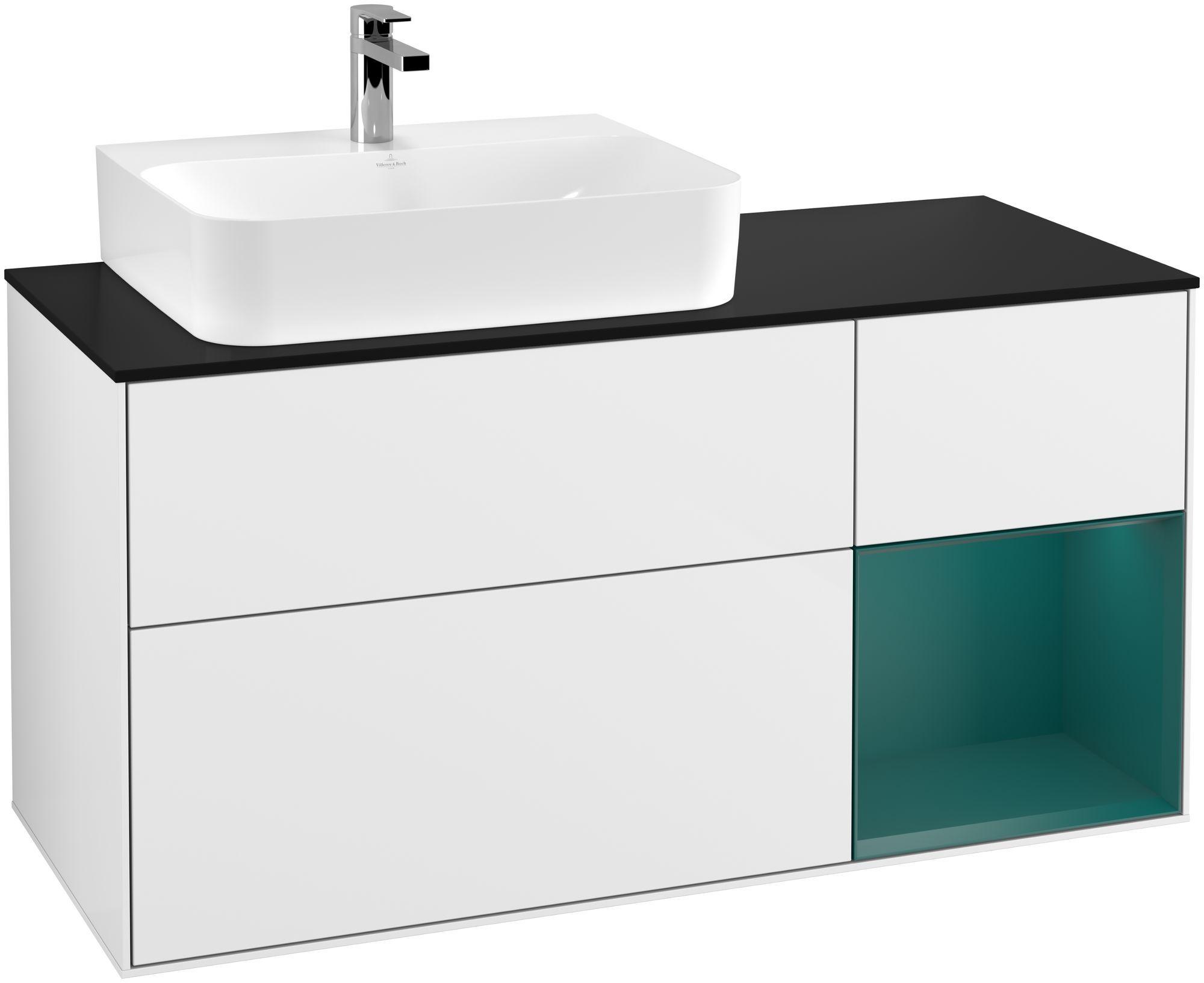 Villeroy & Boch Finion G15 Waschtischunterschrank mit Regalelement 3 Auszüge Waschtisch links LED-Beleuchtung B:120xH:60,3xT:50,1cm Front, Korpus: Glossy White Lack, Regal: Cedar, Glasplatte: Black Matt G152GSGF