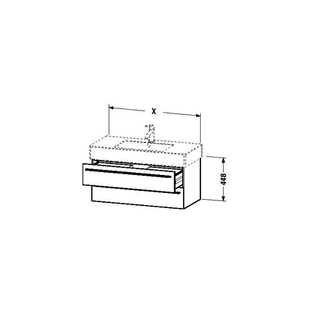 Duravit X-Large Waschtischunterschrank wandhängend B:80xH:44,8xT:46,8 cm mit 2 Schubkästen basalt matt XL635204343