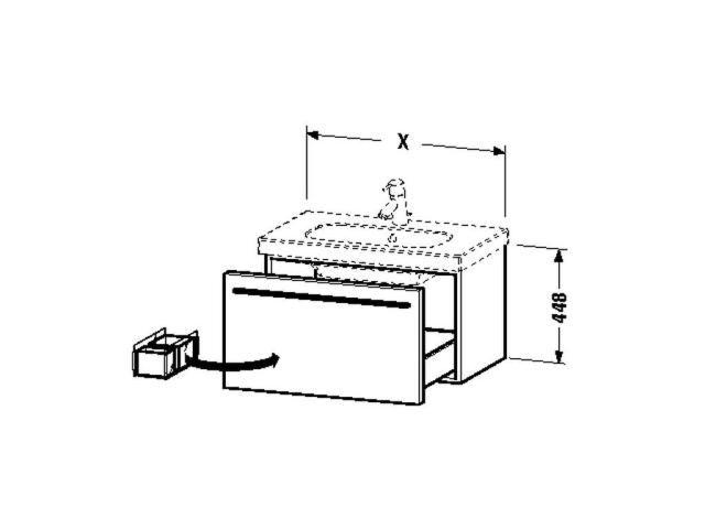 Duravit X-Large Waschtischunterschrank wandhängend B:80xH:44,8xT:45,8cm 1 Auszug cappuccino hochglanz XL604808686