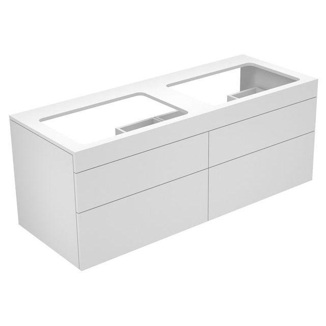 Keuco Edition 400 Waschtischunterbau ohne Hahnlochbohrung 4 Auszüge 1400 x 546 x 535 mm trüffel/Glas trüffel satiniert 31575170000