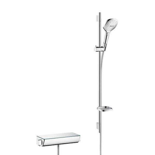 Hansgrohe Ecostat Select Brausegarnitur mit Ecostat 90cm mit Raindance Select E 120 3jet Handbrause chrom 27039000