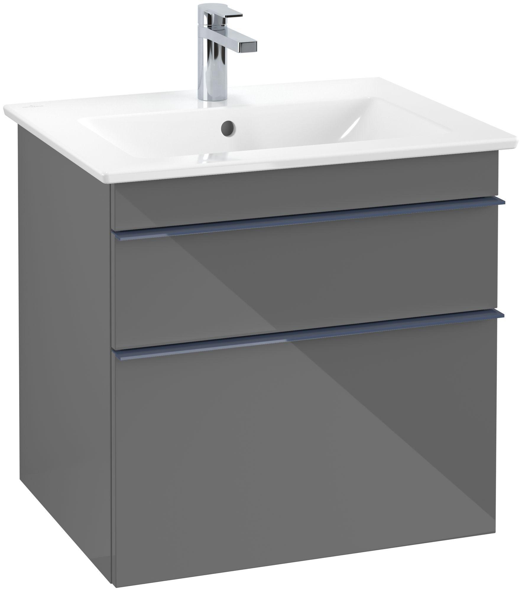 Villeroy & Boch Venticello Waschtischunterschrank 2 Auszüge B:603xT:502xH:590mm glossy grey Griffe blau A92404FP