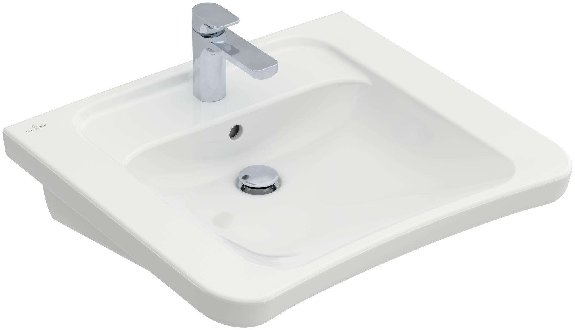 Villeroy & Boch Architectura Waschtisch B:60,5xT:55xH:20,7cm 1 Hahnloch mit Überlauf unterfahrbar weiß mit Ceramicplus 517867R1