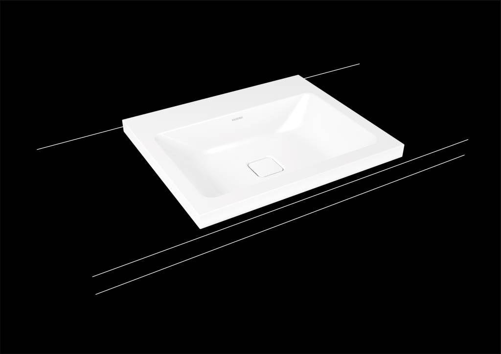 Kaldewei Cono Aufsatzwaschtisch 3083 B:60xT:50cm ohne Überlauf mit 3 Hahnlöchern weiß mit Perl-Effekt 901906033001
