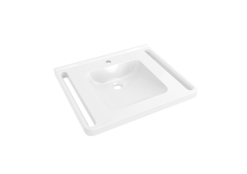 Hewi Waschtisch B:65xT:55cm unterfahrbar mit Schwallkante ergonomische Haltegriffe runde Mulde weiß 950.11.161