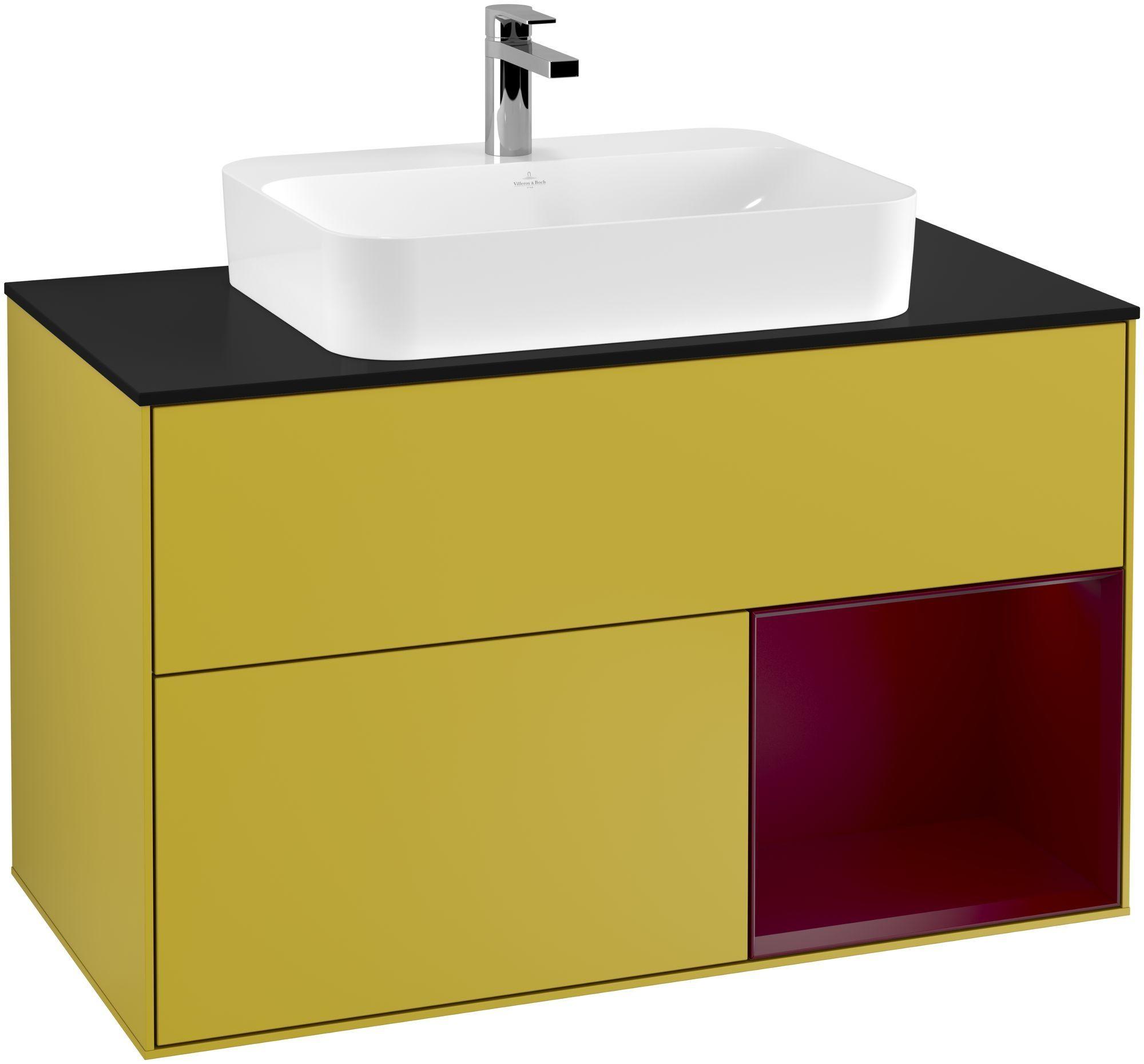 Villeroy & Boch Finion G37 Waschtischunterschrank mit Regalelement 2 Auszüge für WT mittig LED-Beleuchtung B:100xH:60,3xT:50,1cm Front, Korpus: Sun, Regal: Peony, Glasplatte: Black Matt G372HBHE