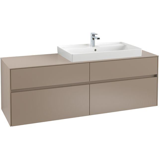 Villeroy & Boch Waschbeckenunterschrank Collaro C027L0, 1600 x 548 x 500 mm, mit Beleuchtung, 4 Auszüge, Waschbecken rechts, Glossy Grey C027L0FP