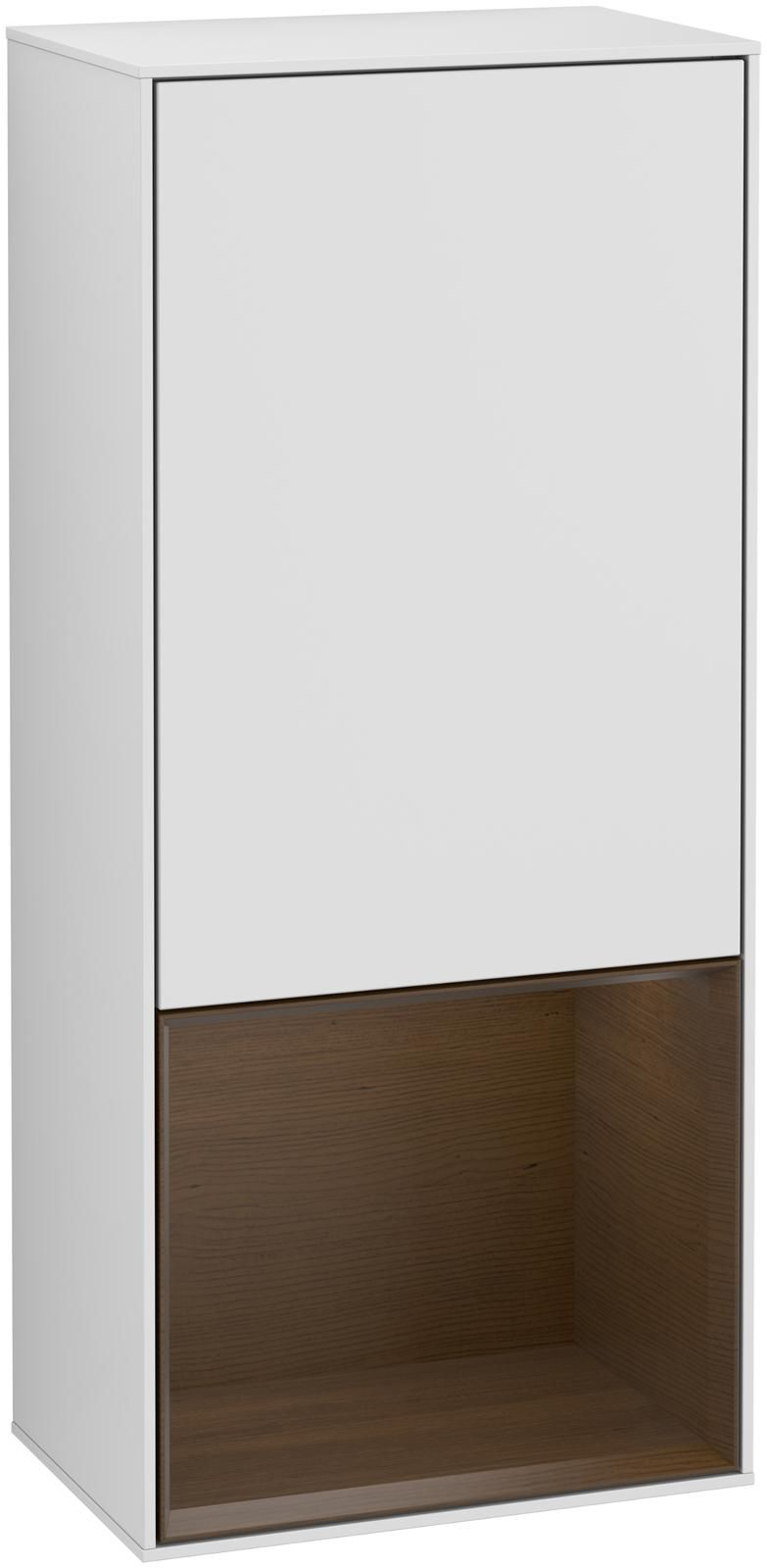 Villeroy & Boch Finion G54 Seitenschrank mit Regalelement 1 Tür Anschlag links LED-Beleuchtung B:41,8xH:93,6xT:27cm Front, Korpus: Weiß Matt Soft Grey, Regal: Walnut Veneer G540GNMT