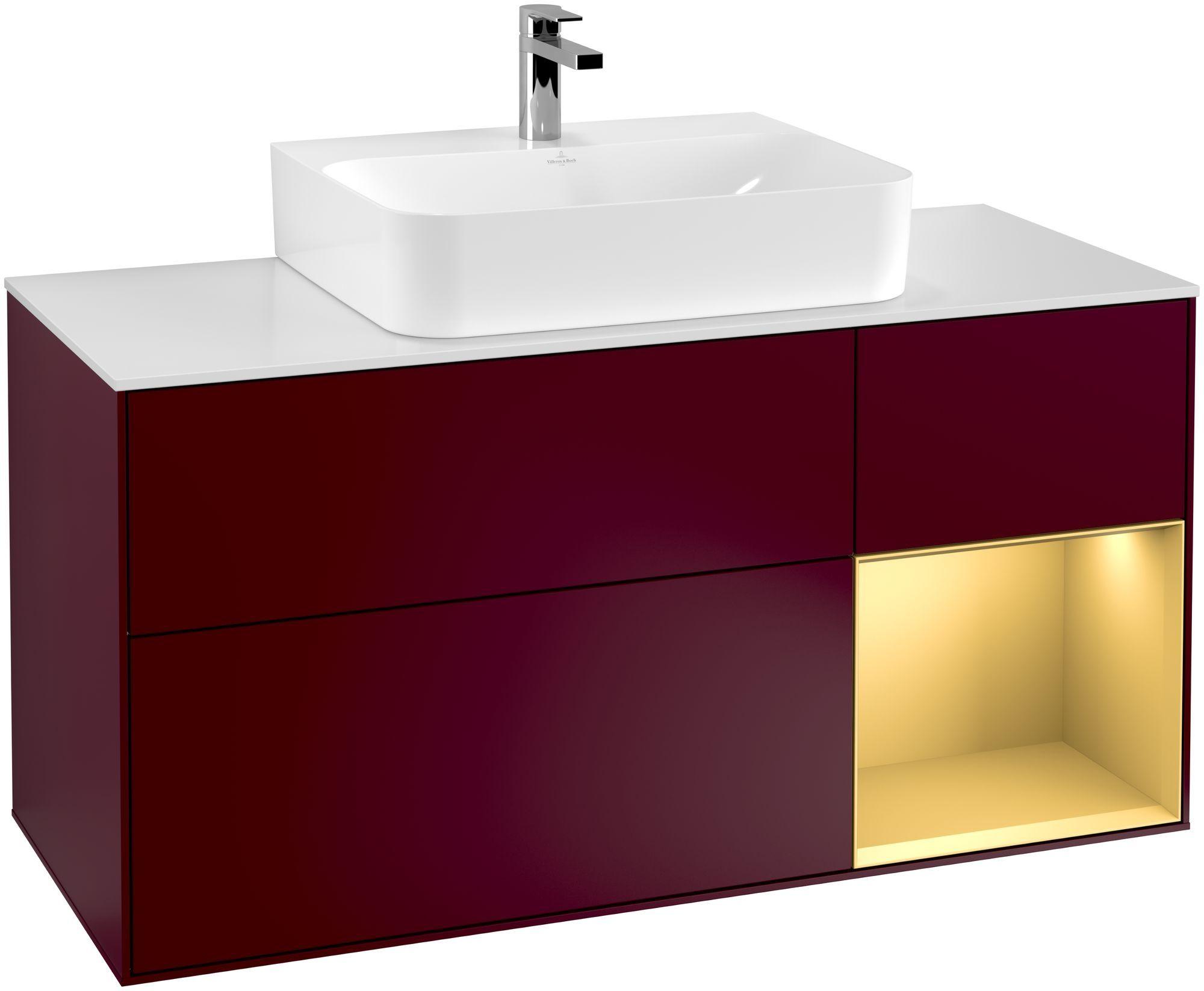 Villeroy & Boch Finion F17 Waschtischunterschrank mit Regalelement 3 Auszüge Waschtisch mittig LED-Beleuchtung B:120xH:60,3xT:50,1cm Front, Korpus: Peony, Regal: Gold Matt, Glasplatte: White Matt F171HFHB