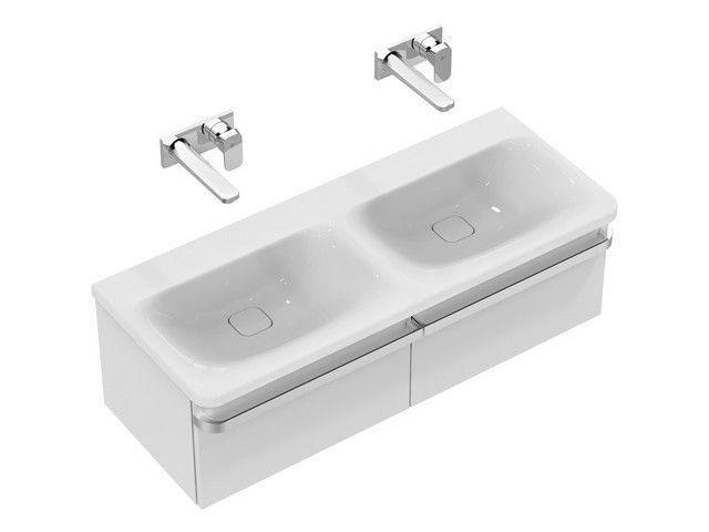 Ideal Standard Tonic II Möbel-Doppelwaschtisch B:121,5xT:49xH:17cm ohne Hahnloch ohne Überlauf weiß K087101