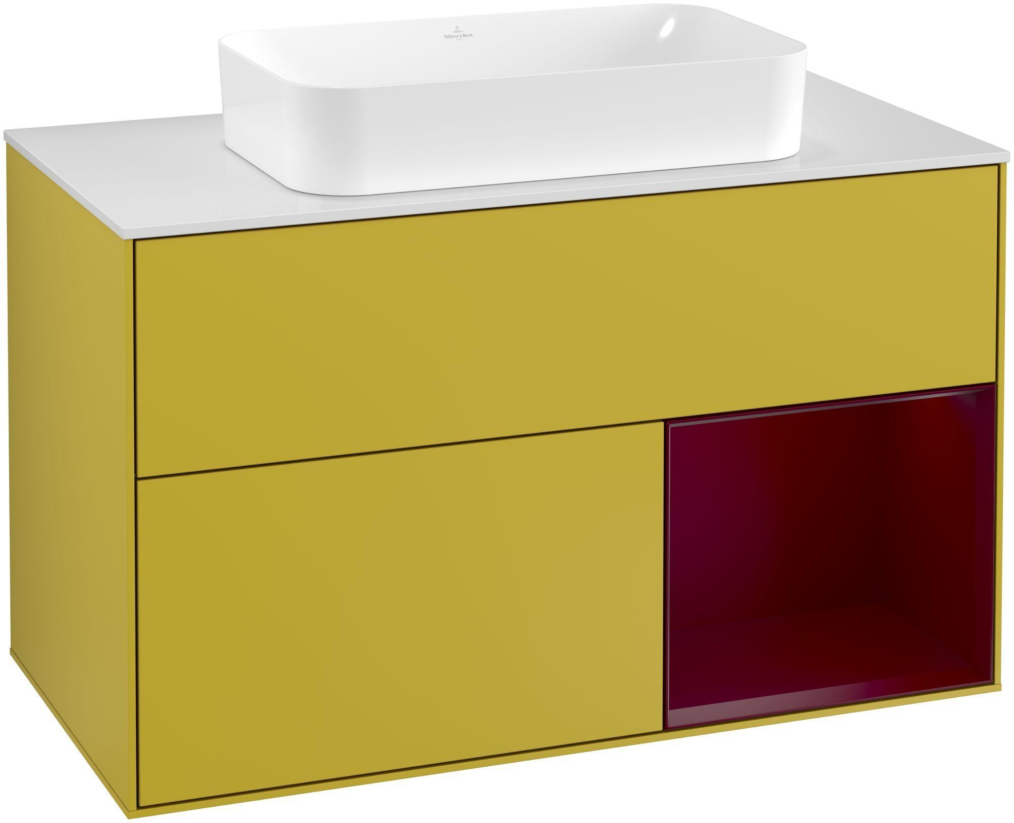 Villeroy & Boch Finion F25 Waschtischunterschrank mit Regalelement 2 Auszüge für WT mittig LED-Beleuchtung B:100xH:60,3xT:50,1cm Front, Korpus: Sun, Regal: Peony, Glasplatte: White Matt F251HBHE
