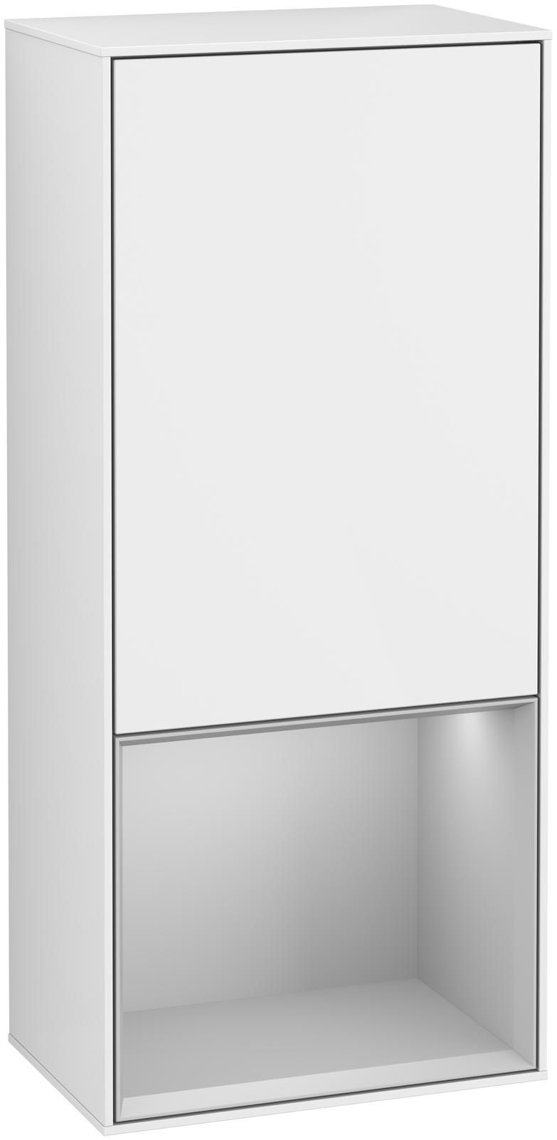 Villeroy & Boch Finion F54 Seitenschrank mit Regalelement 1 Tür Anschlag links LED-Beleuchtung B:41,8xH:93,6xT:27cm Front, Korpus: Glossy White Lack, Regal: Light Grey Matt F540GJGF