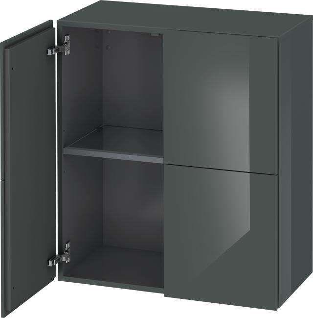 Duravit L-Cube Halbhochschrank B:70xH:80xT:36,3cm 2 Türen dolomiti grey hochglanz LC117703838
