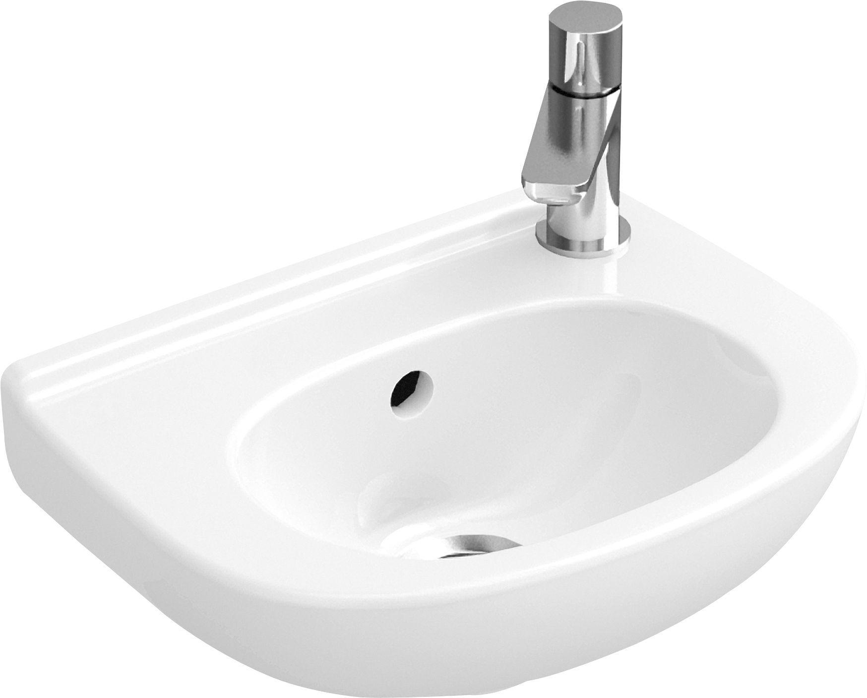Villeroy & Boch O.Novo Compact Handwaschbecken B:36xT:27,5cm Hahnloch rechts mit Überlauf weiß mit CeramicPlus 536038R1