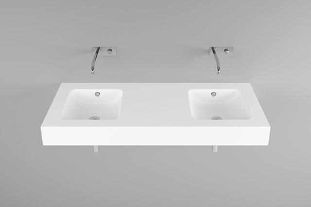 Bette One Wand-Doppelwaschtisch B:140xT:53xH:14cm ohne Hahnloch ohne Überlauf weiß A142-000