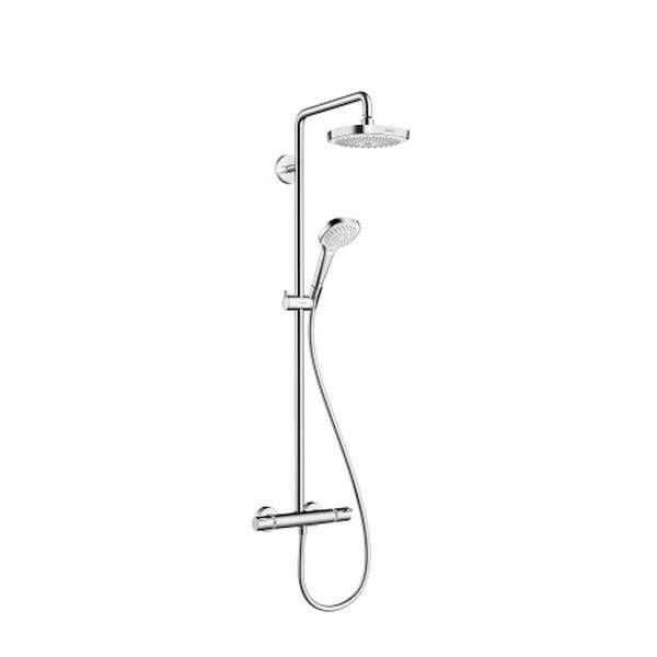 Hansgrohe Croma Select E 180 2jet Showerpipe EcoSmart 9 l/min weiß chrom 27257400