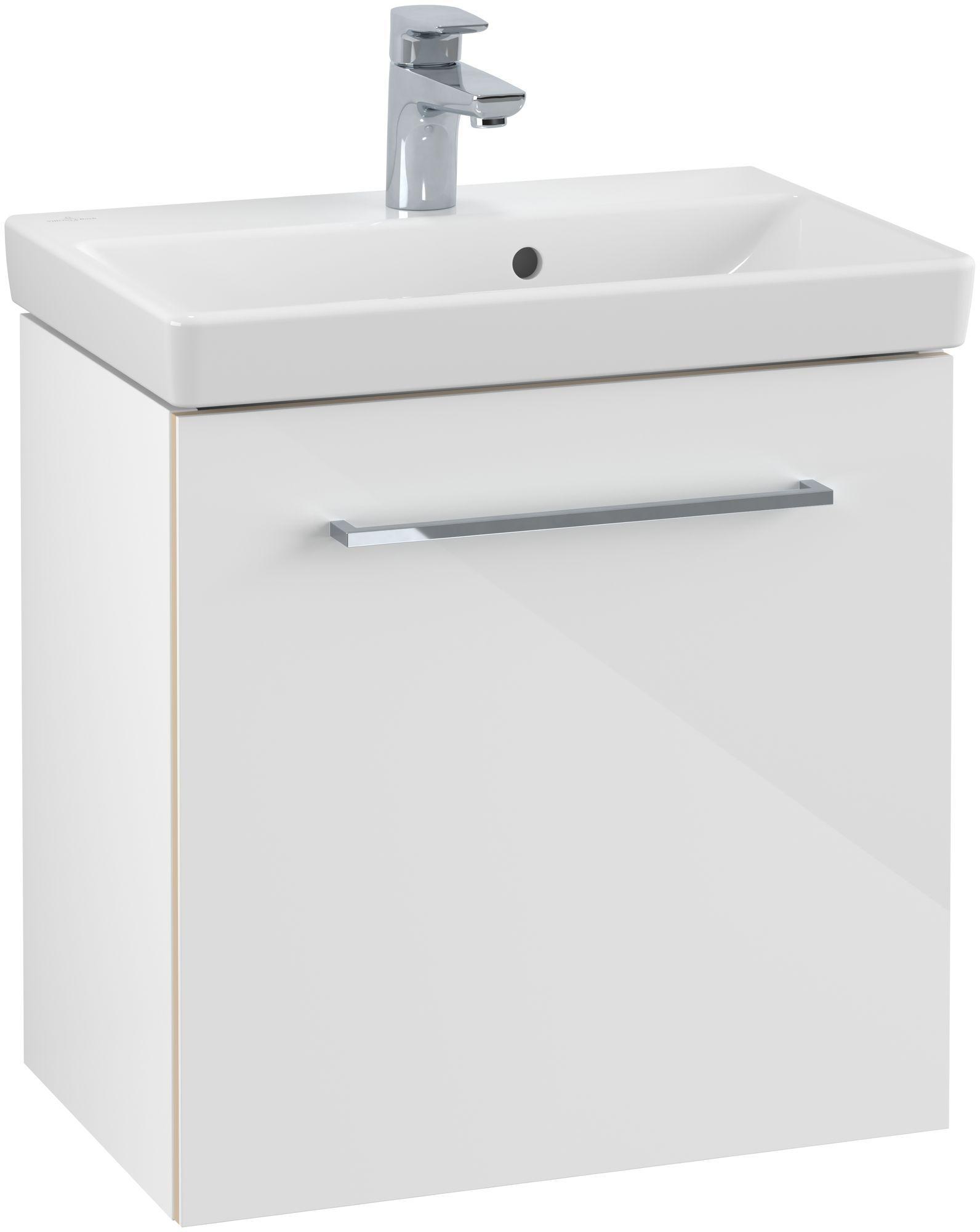 Villeroy & Boch Avento Waschtischunterschrank mit 1 Tür Türanschlag links B:51,2xH:52xT:34,8 cm mit crystal white A88800B4