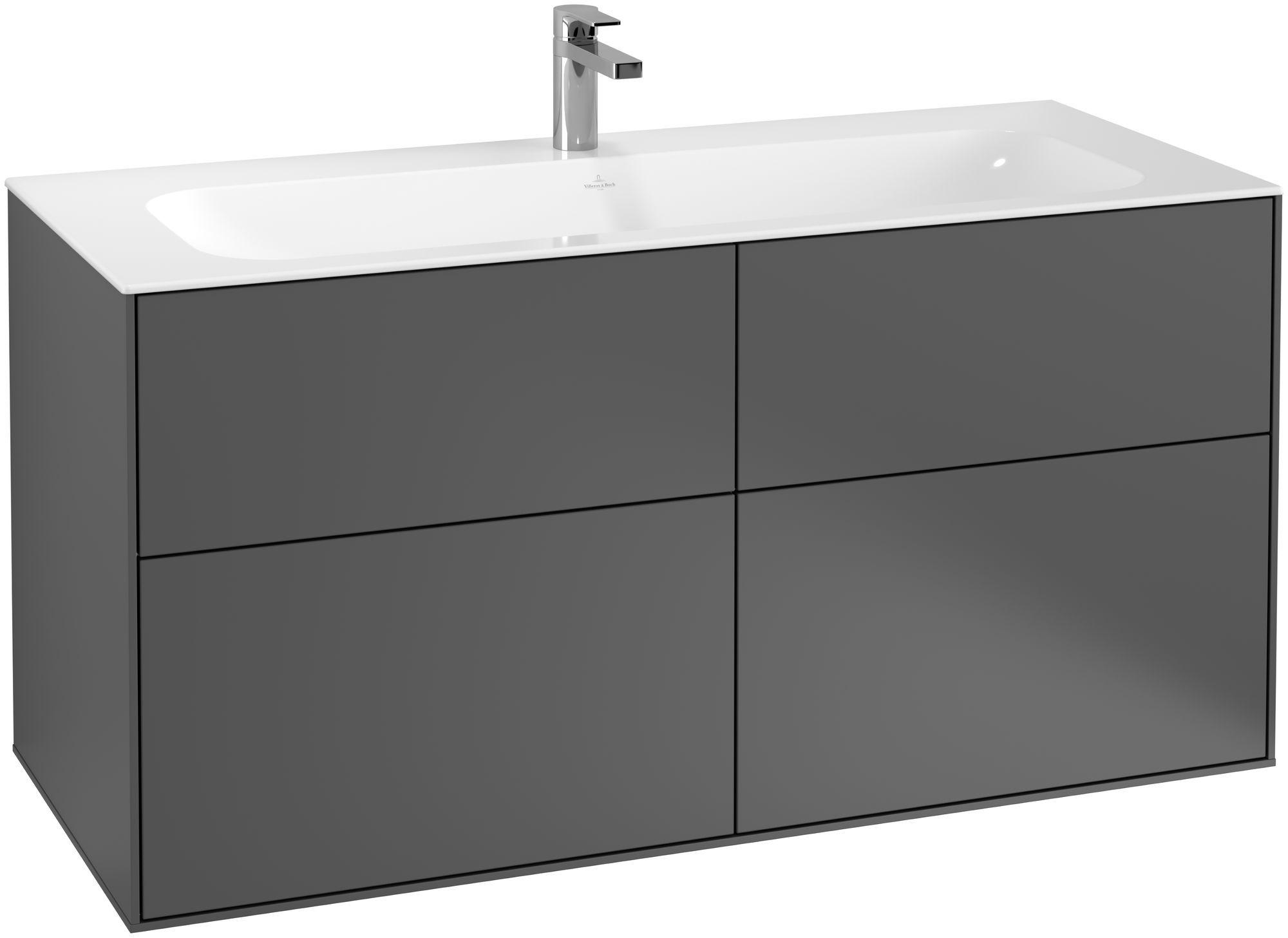 Villeroy & Boch Finion G05 Waschtischunterschrank 4 Auszüge LED-Beleuchtung B:119,6xH:59,1xT:49,8cm Front, Korpus: Anthracite Matt G05000GK