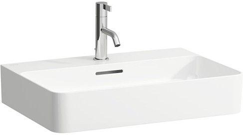 Laufen VAL Aufsatzwaschtisch mit drei Hahnlöchern mit Überlauf Unterseite geschliffen B:60xT:42cm weiß mit CleanCoat LCC H8162834001081