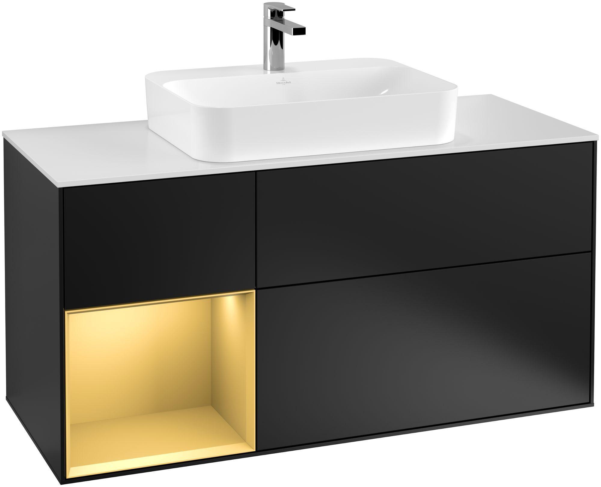 Villeroy & Boch Finion F41 Waschtischunterschrank mit Regalelement 3 Auszüge Waschtisch mittig LED-Beleuchtung B:120xH:60,3xT:50,1cm Front, Korpus: Black Matt Lacquer, Regal: Gold Matt, Glasplatte: White Matt F411HFPD