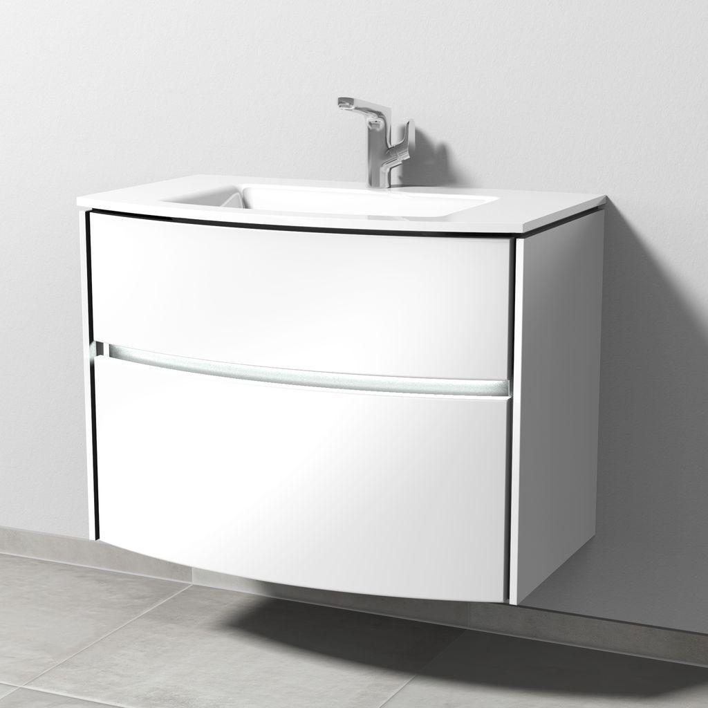 Sanipa Twiga Waschtischunterbau mit Auszügen und LED (SY233) H:60,5xB:81,8xL:45,9cm Macchiato-Matt SY23368