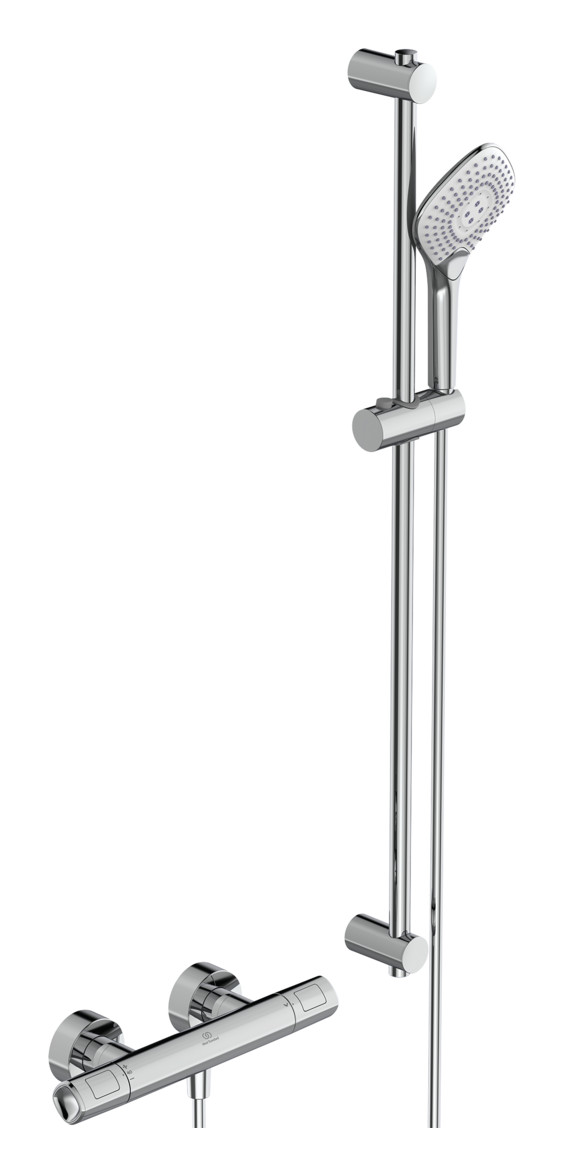 Ideal Standard Ceratherm T100 Brausethermostat Set mit Brausegarnitur 90 cm Aufputz Chrom A7235AA