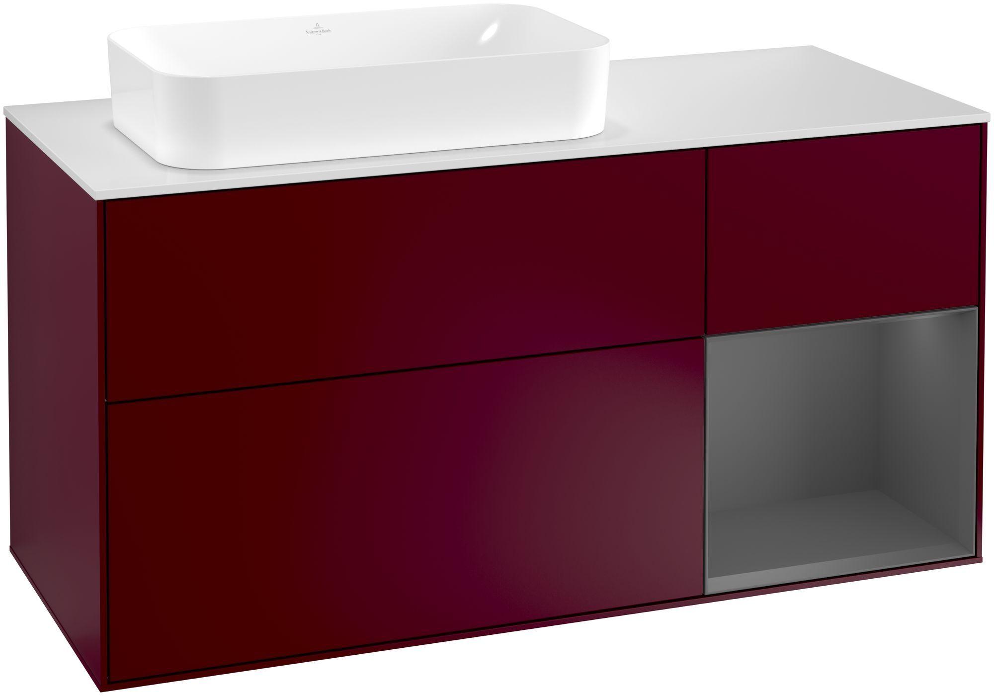 Villeroy & Boch Finion F28 Waschtischunterschrank mit Regalelement 3 Auszüge Waschtisch links LED-Beleuchtung B:120xH:60,3xT:50,1cm Front, Korpus: Peony, Regal: Anthracite Matt, Glasplatte: White Matt F281GKHB