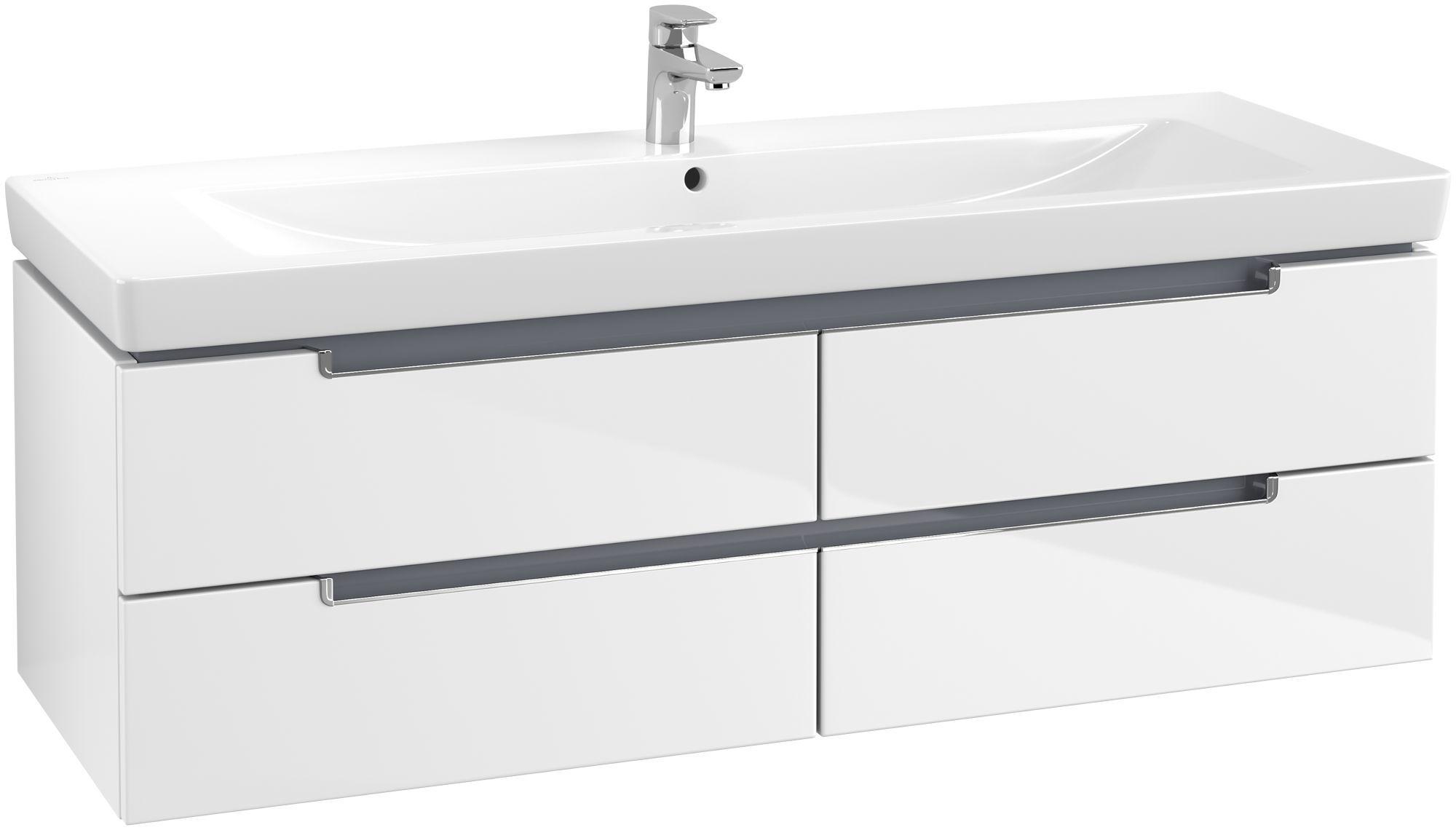 Villeroy & Boch Subway 2.0 Waschtischunterschrank 4 Auszüge B:1287xT:449xH:420mm glossy weiß Griffe chrom A69110DH