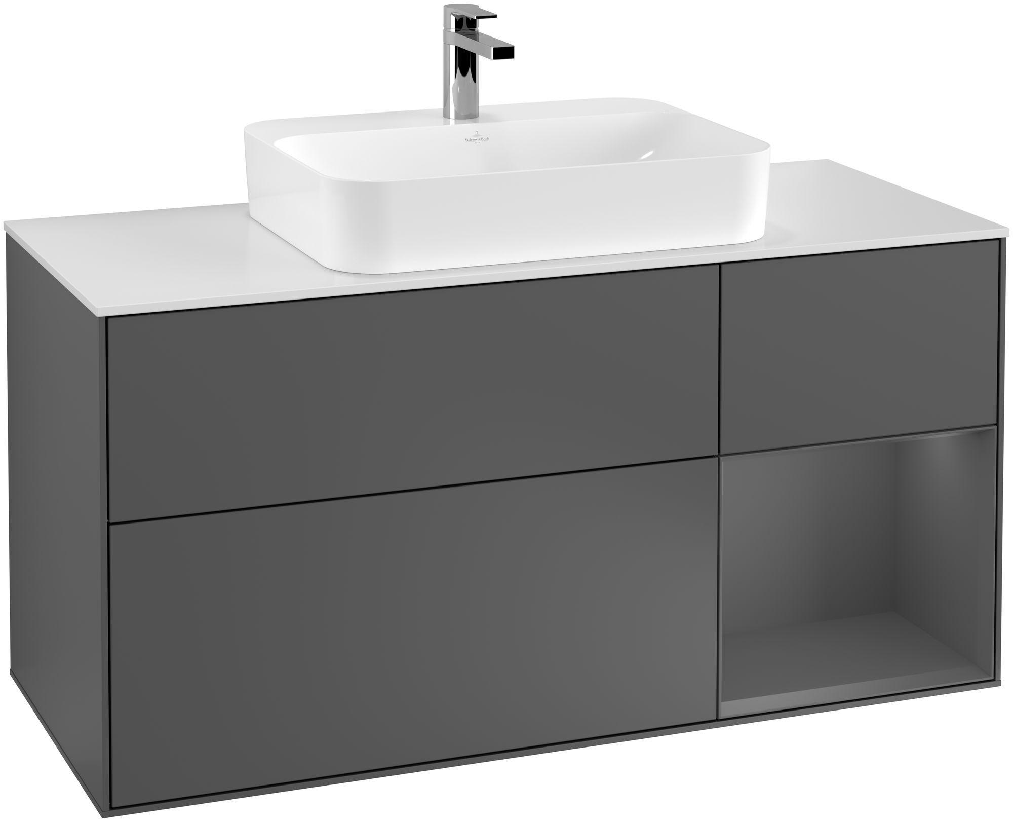 Villeroy & Boch Finion F42 Waschtischunterschrank mit Regalelement 3 Auszüge Waschtisch mittig LED-Beleuchtung B:120xH:60,3xT:50,1cm Front, Korpus: Anthracite Matt, Glasplatte: White Matt F421GKGK