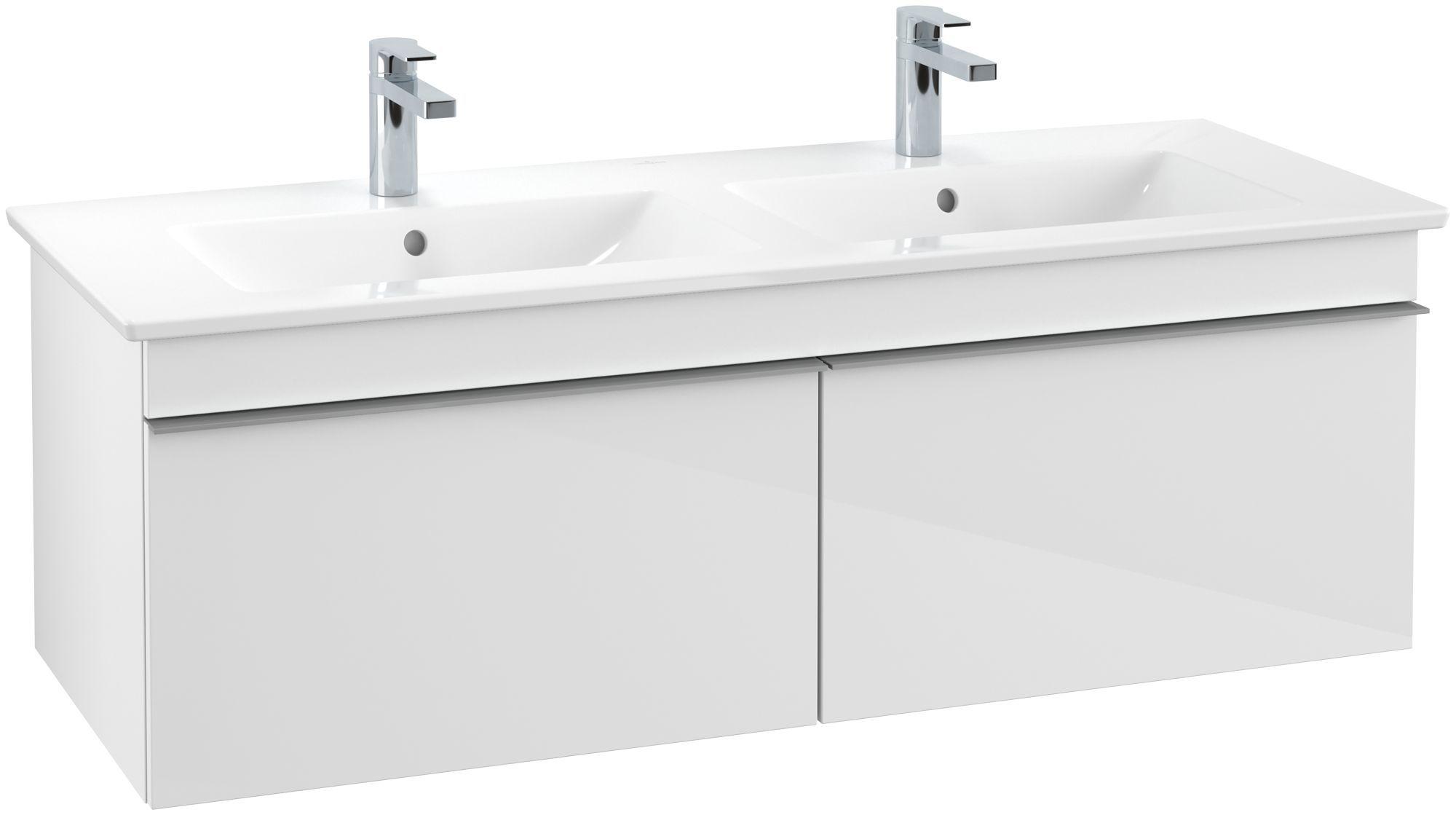 Villeroy & Boch Venticello Waschtischunterschrank 2 Auszüge B:1253xT:502xH:420mm glossy weiß Griffe grau A93903DH