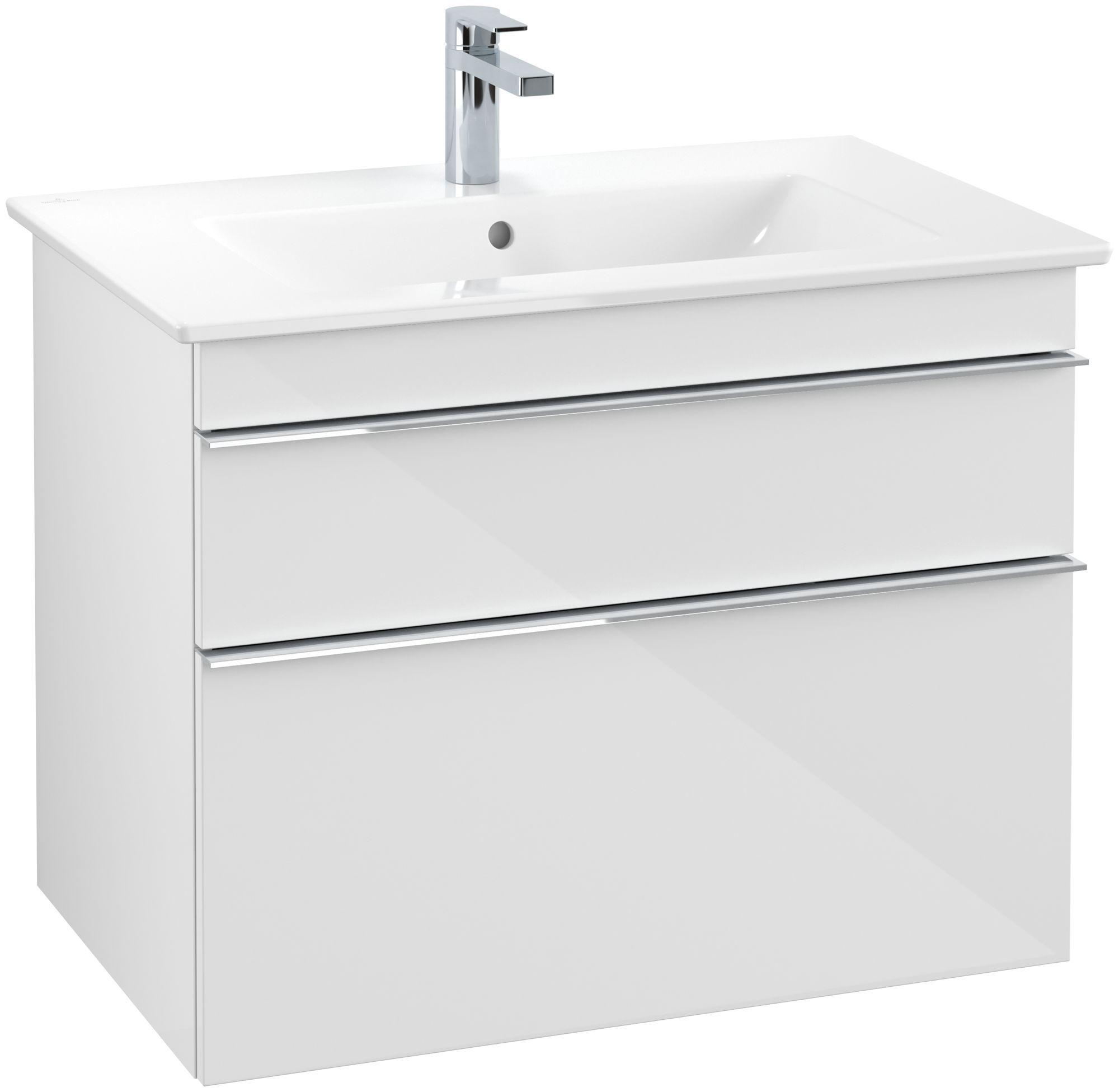 Villeroy & Boch Venticello Waschtischunterschrank 2 Auszüge B:753xT:502xH:590mm glossy weiß Griffe chrom A92501DH - MAIN