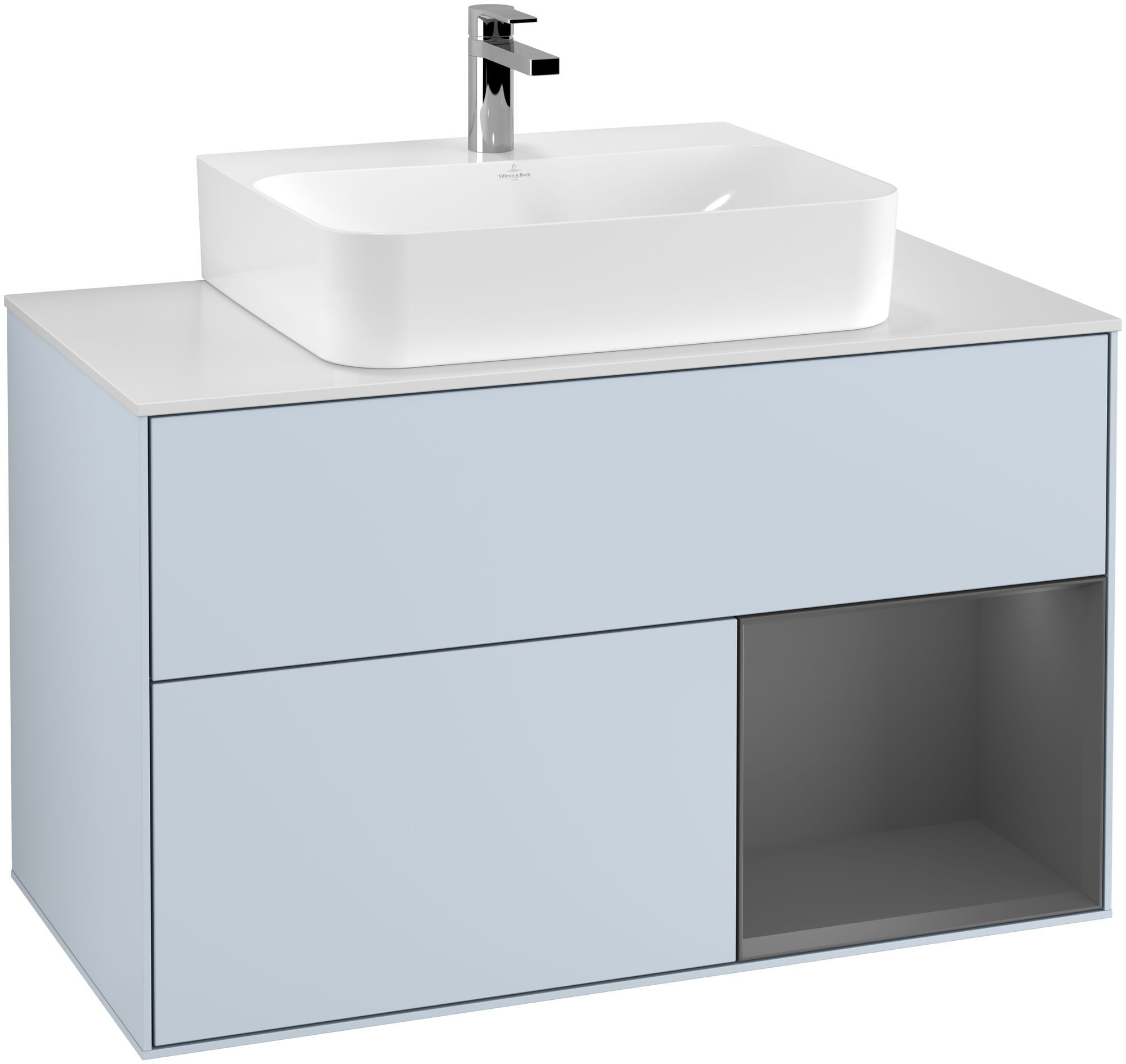 Villeroy & Boch Finion F12 Waschtischunterschrank mit Regalelement 2 Auszüge für WT mittig LED-Beleuchtung B:100xH:60,3xT:50,1cm Front, Korpus: Cloud, Regal: Anthracite Matt, Glasplatte: White Matt F121GKHA