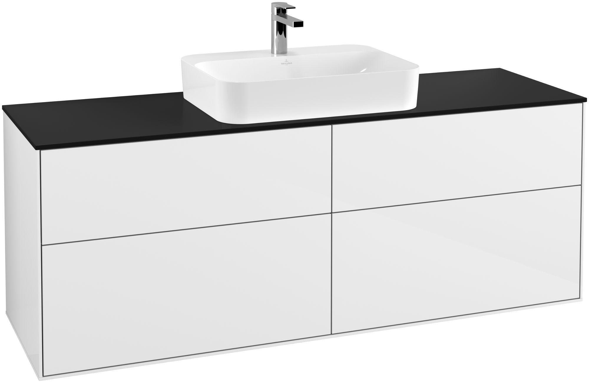 Villeroy & Boch Finion G44 Waschtischunterschrank 4 Auszüge Waschtisch mittig LED-Beleuchtung B:160xH:60,3xT:50,1cm Front, Korpus: Glossy White Lack, Glasplatte: Black Matt G44200GF