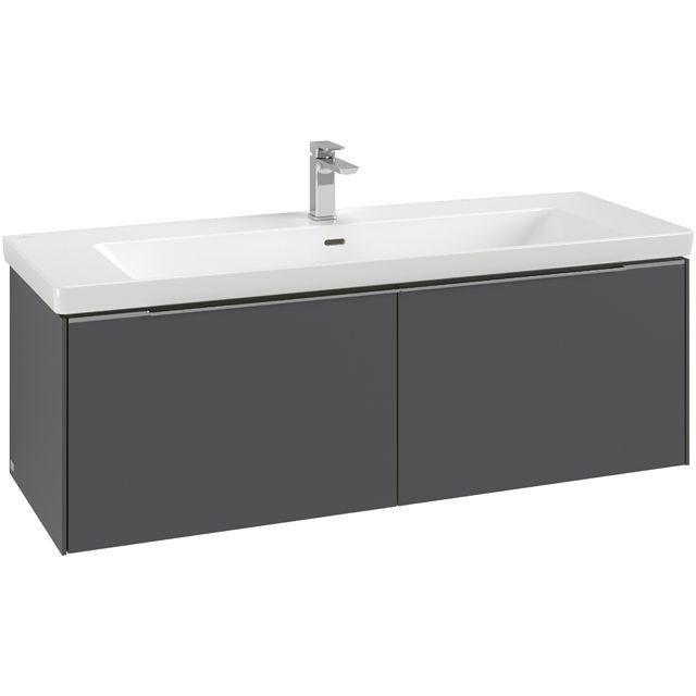 Villeroy & Boch Subway 3.0 Waschtischunterschrank 127,2x43,2x46,2cm mit Beleuchtung 2 Auszüge Waschtisch mittig Stone Oak C601L0RK