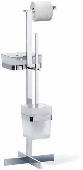 Giese Von der Rolle WC-Ständer mit Bürstengarnitur und Glasbehälter für Feuchtpapier Kristallglas satiniert und chrom 31789-02