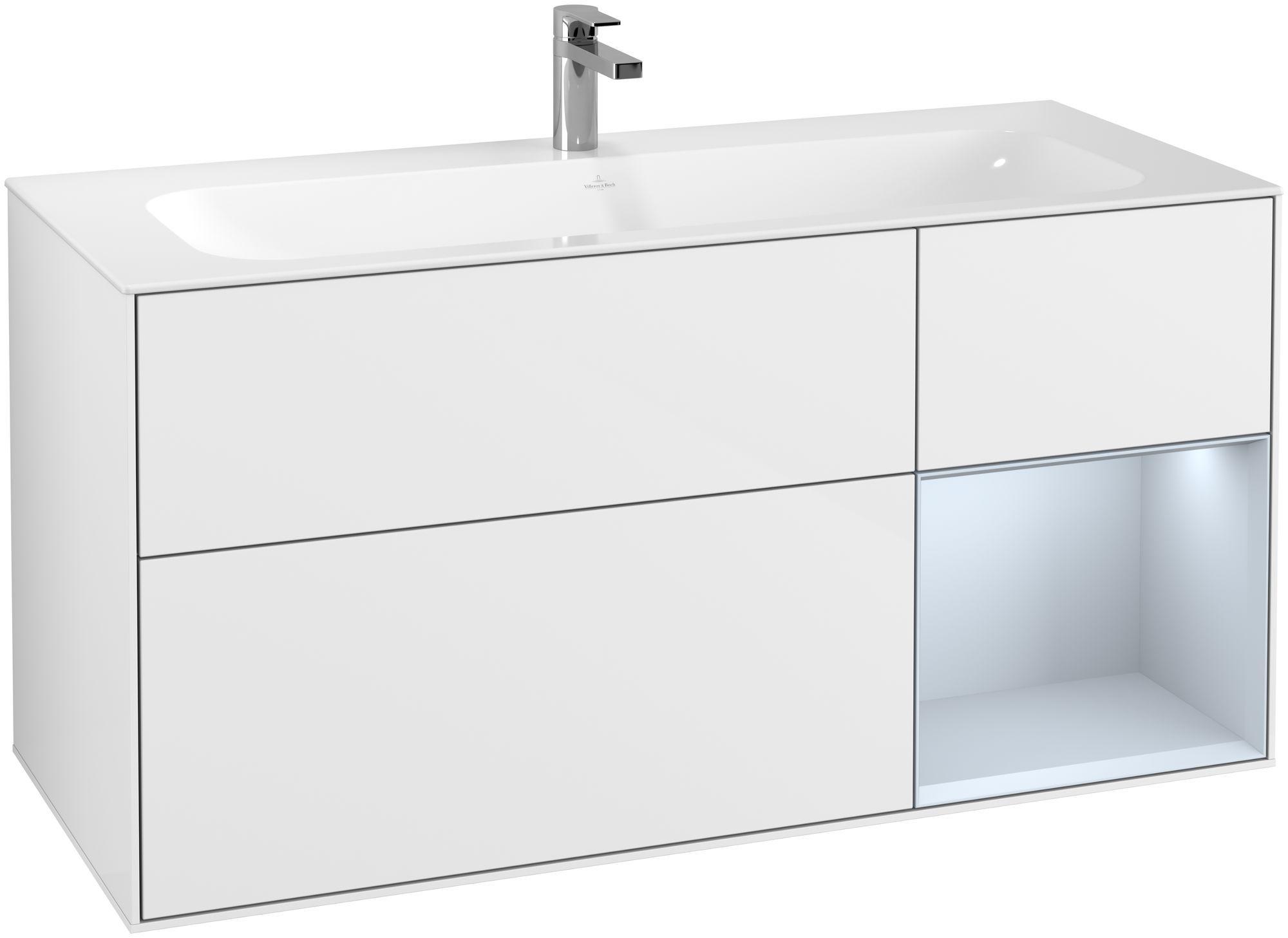 Villeroy & Boch Finion F07 Waschtischunterschrank mit Regalelement 3 Auszüge LED-Beleuchtung B:119,6xH:59,1xT:49,8cm Front, Korpus: Glossy White Lack, Regal: Cloud F070HAGF