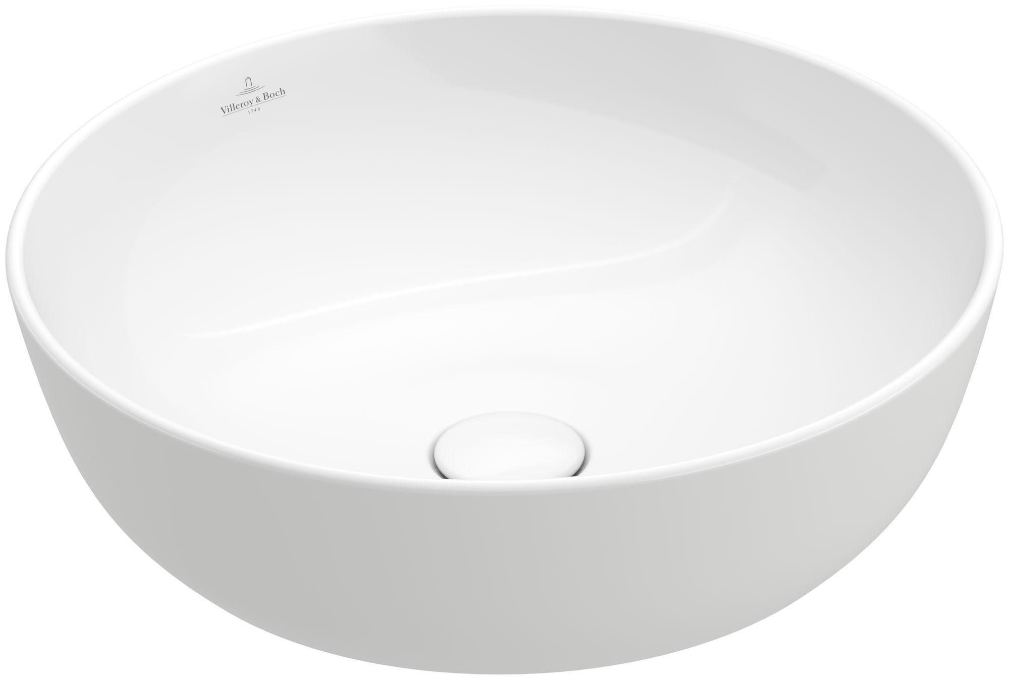 Villeroy & Boch Artis Aufsatzwaschtisch Durchmesser 43cm ohne Hahnloch ohne Überlauf rund weiß mit CeramicPlus 417943R1