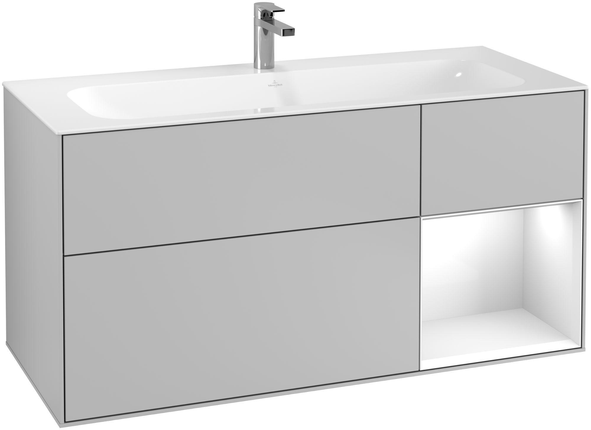 Villeroy & Boch Finion F07 Waschtischunterschrank mit Regalelement 3 Auszüge LED-Beleuchtung B:119,6xH:59,1xT:49,8cm Front, Korpus: Light Grey Matt, Regal: Glossy White Lack F070GFGJ