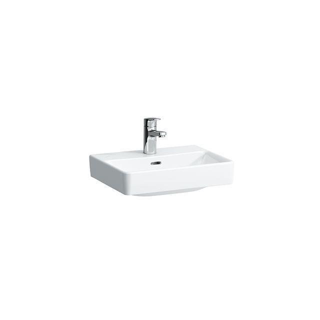 Laufen Pro S Handwaschbecken B:45xT:34cm 1 Hahnloch mittig mit Überlauf geschliffen weiß mit CleanCoat LCC H8169614001041