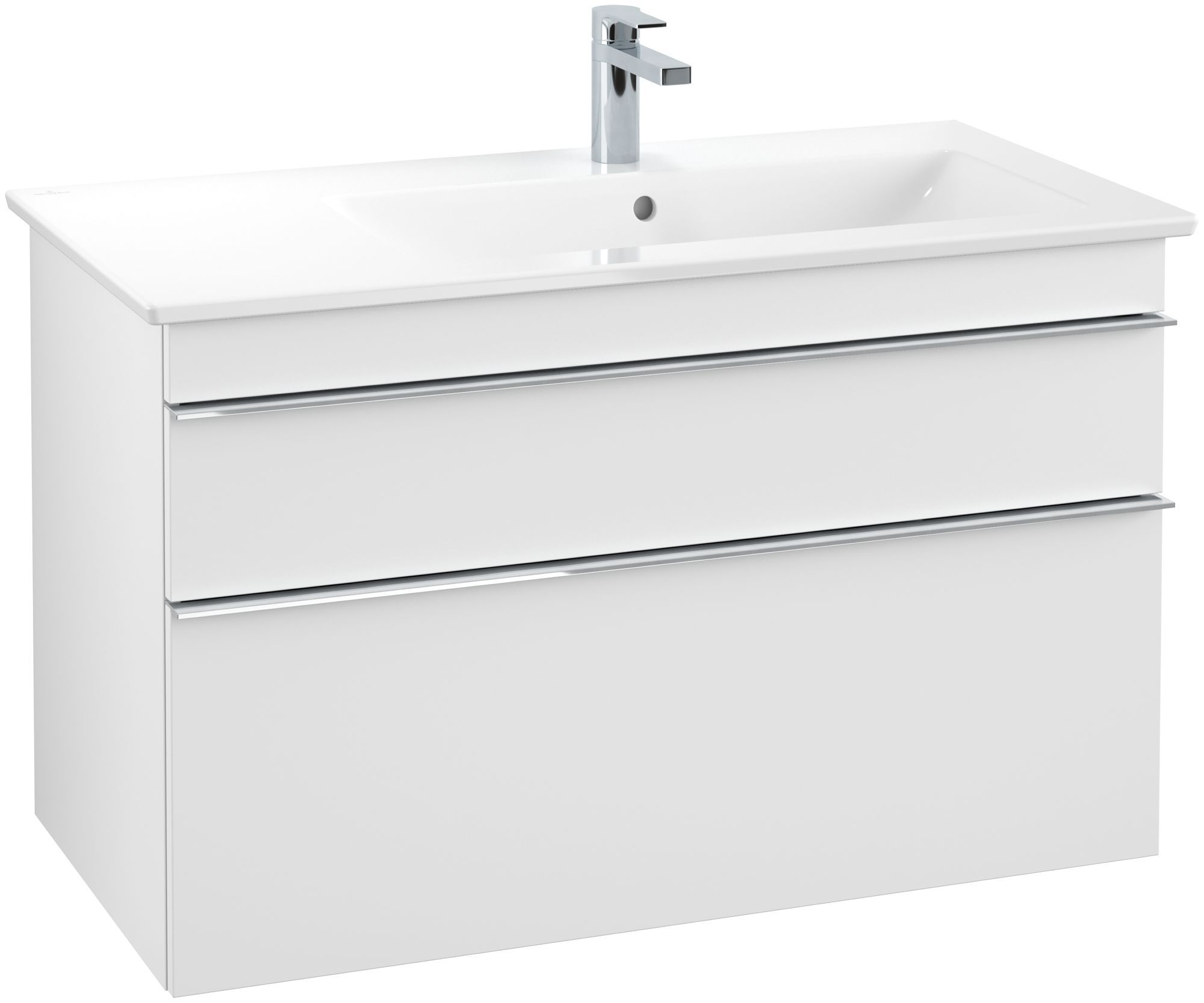 Villeroy & Boch Venticello Waschtischunterschrank 2 Auszüge B:953xT:502xH:590mm weiß matt Griffe chrom A92801MS