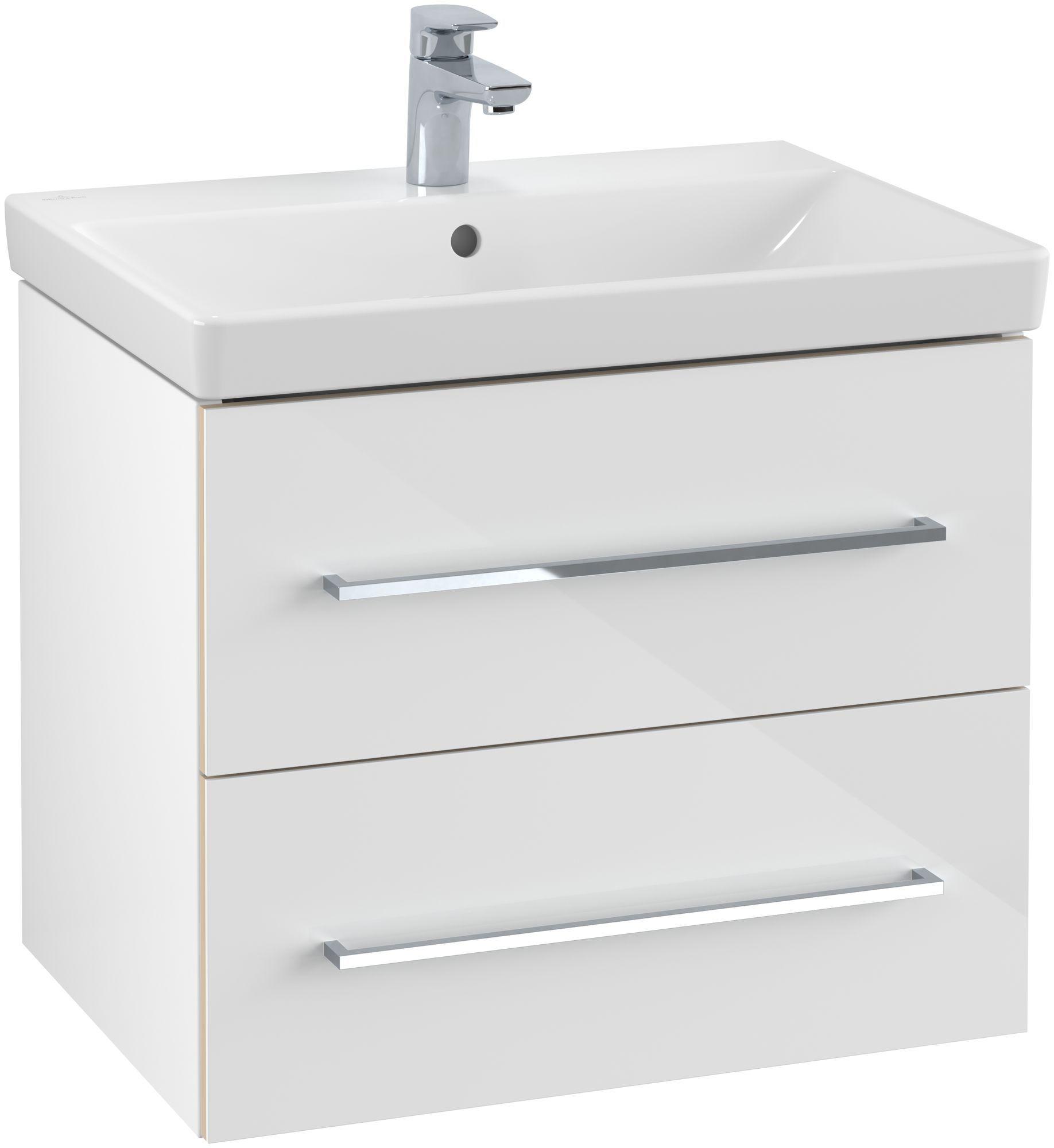 Villeroy & Boch Avento Waschtischunterschrank mit 2 Auszügen B:61,8 x H:52 x T:44,7 cm crystal white A89000B4