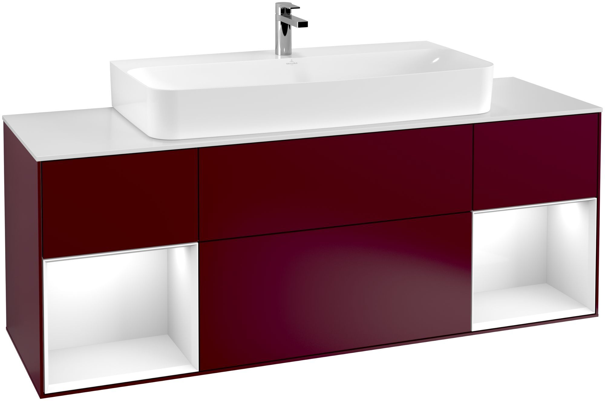 Villeroy & Boch Finion G21 Waschtischunterschrank mit Regalelement 4 Auszüge Waschtisch mittig LED-Beleuchtung B:160xH:60,3xT:50,1cm Front, Korpus: Peony, Regal: Glossy White Lack, Glasplatte: White Matt G211GFHB