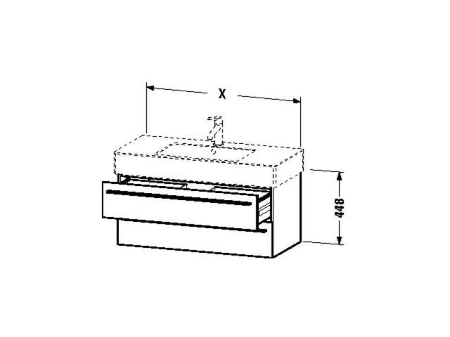 Duravit X-Large Waschtischunterschrank wandhängend B:80xH:44,8xT:46,8cm 2 Schubkästen cappuccino hochglanz XL635208686