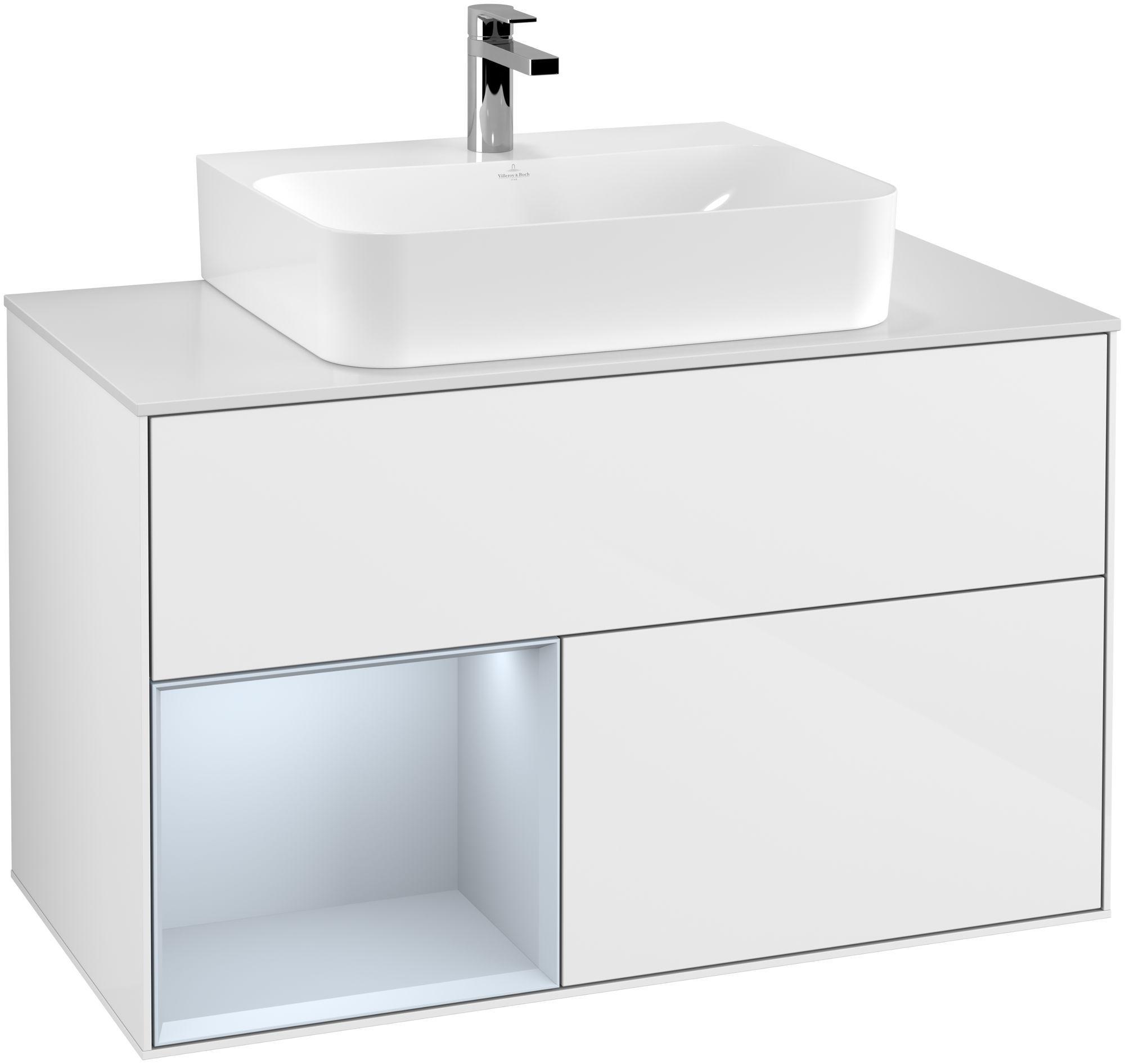 Villeroy & Boch Finion F11 Waschtischunterschrank mit Regalelement 2 Auszüge für WT mittig LED-Beleuchtung B:100xH:60,3xT:50,1cm Front, Korpus: Glossy White Lack, Regal: Cloud, Glasplatte: White Matt F111HAGF