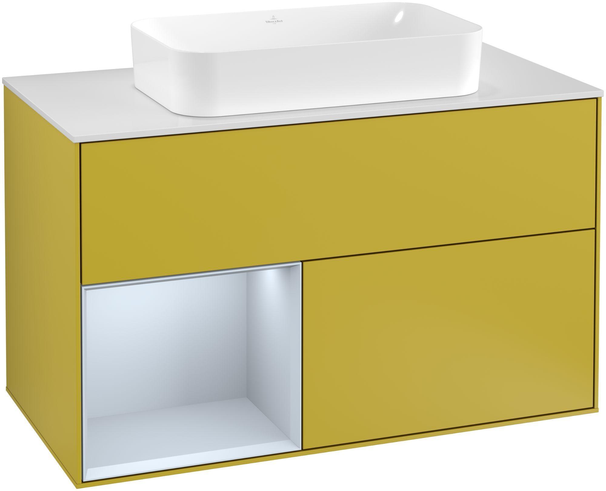 Villeroy & Boch Finion G24 Waschtischunterschrank mit Regalelement 2 Auszüge für WT mittig LED-Beleuchtung B:100xH:60,3xT:50,1cm Front, Korpus: Sun, Regal: Cloud, Glasplatte: White Matt G241HAHE