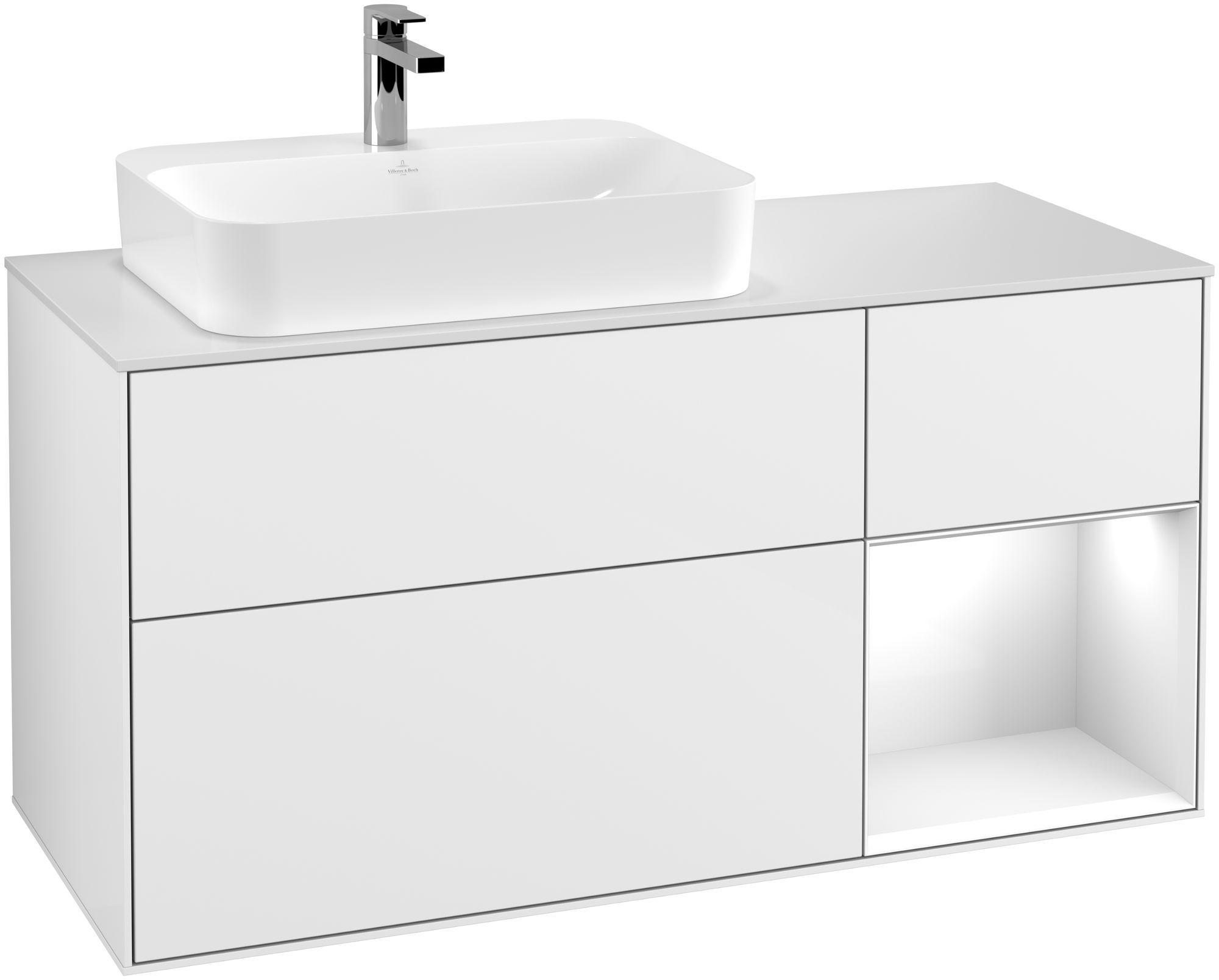 Villeroy & Boch Finion G40 Waschtischunterschrank mit Regalelement 3 Auszüge Waschtisch links LED-Beleuchtung B:120xH:60,3xT:50,1cm Front, Korpus: Glossy White Lack, Glasplatte: White Matt G401GFGF