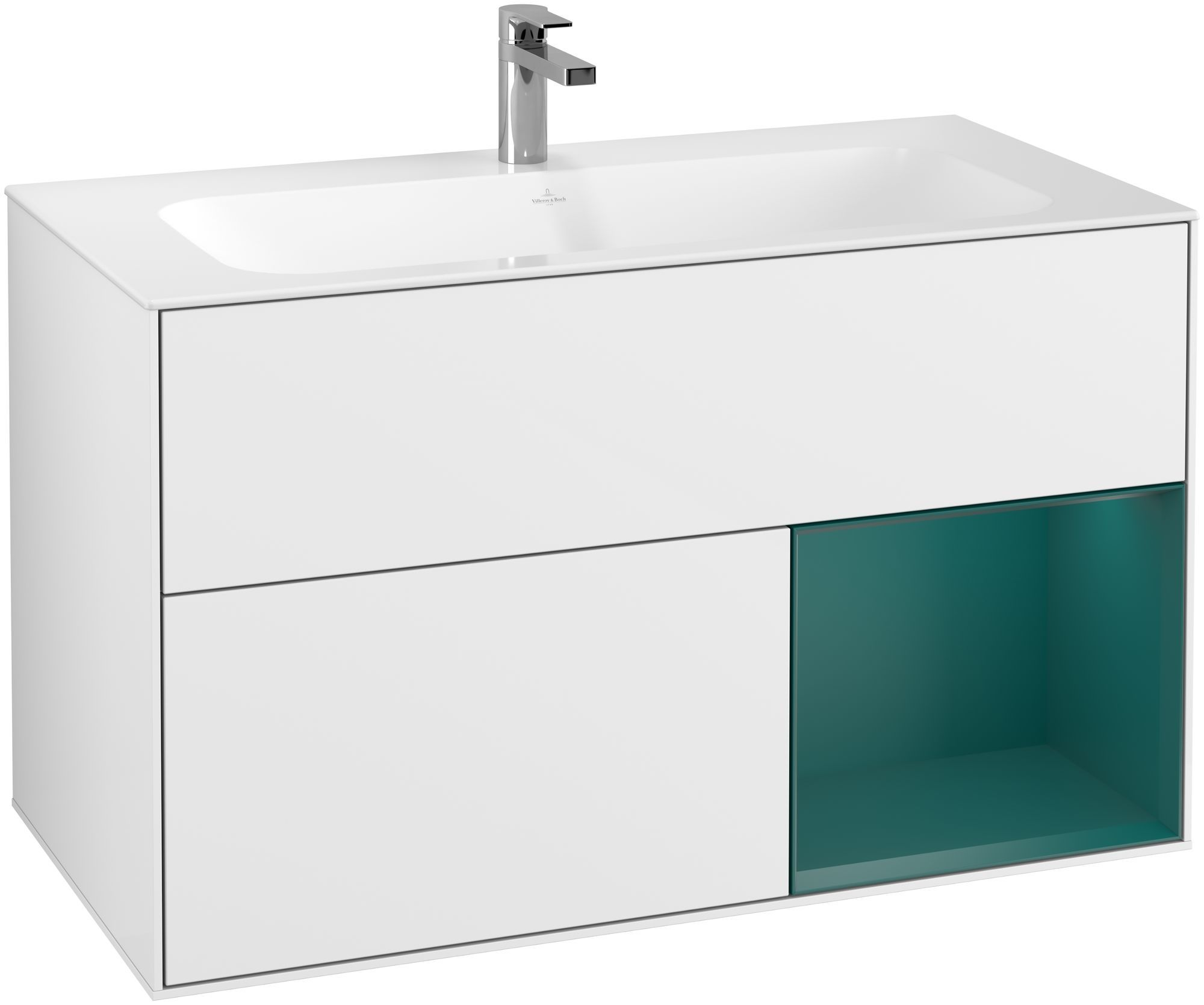 Villeroy & Boch Finion G04 Waschtischunterschrank mit Regalelement 2 Auszüge LED-Beleuchtung B:99,6xH:59,1xT:49,8cm Front, Korpus: Glossy White Lack, Regal: Cedar G040GSGF