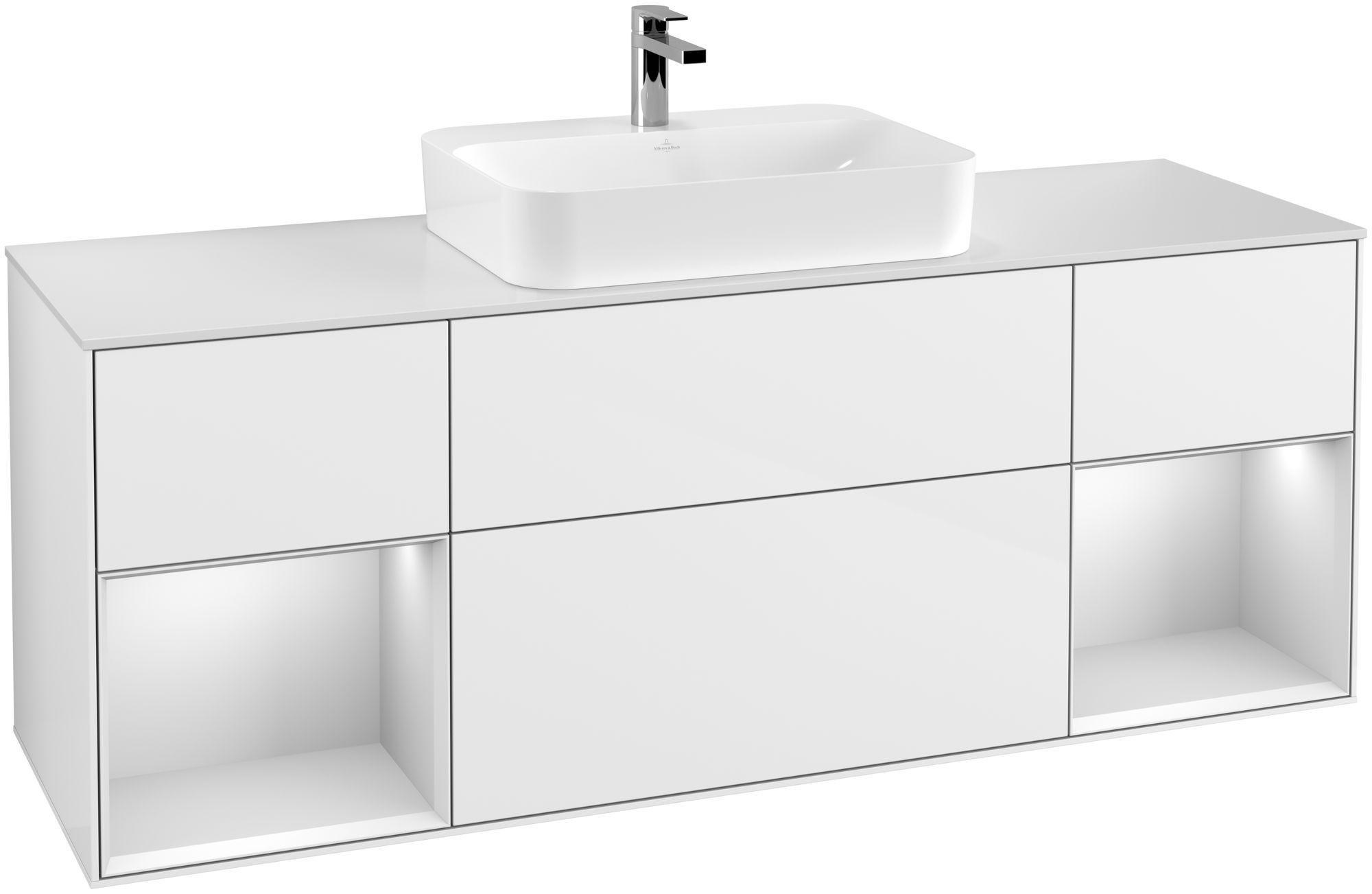 Villeroy & Boch Finion F45 Waschtischunterschrank mit Regalelement 4 Auszüge Waschtisch mittig LED-Beleuchtung B:160xH:60,3xT:50,1cm Front, Korpus: Glossy White Lack, Regal: Weiß Matt Soft Grey, Glasplatte: White Matt F451MTGF